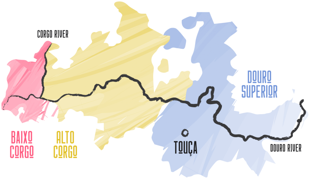 Douro Sub-Regions map. Includes Baixo Corgo, Alto Corgo and Douro Superior.