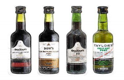 Serving wine. Port wine miniature bottles