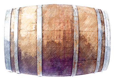 Wood barrels are used for wine storage.