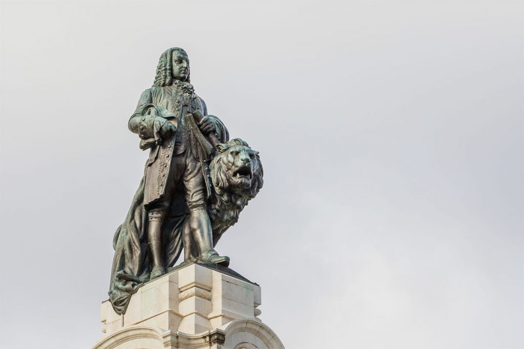 Marquis of Pombal statue in downtown Lisbon